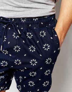 Imagen 3 de Pantalones cortos chinos con estampado geométrico en añil de ASOS