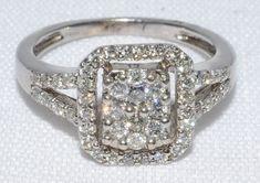 10K White Gold Vintage Diamond Cluster by LadyLibertyGold on Etsy