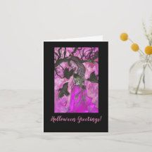 Shop Raven Witch Halloween Greetings Card created by fairychamber. Halloween Circus, Halloween Masquerade, Halloween Cat, Halloween Pumpkins, Happy Halloween, Halloween Greetings, Halloween Celebration, Purple Art, Custom Greeting Cards