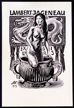 Ex-Libris Collection - Artist's Ex-LibrisYou can find Ex libris and more on our website. Ex-Libris Collection - Artist's Ex-Libris Ex Libris, Wood Engraving, Pulp Art, Illustration Girl, Erotic Art, Cartoon Art, Vintage Posters, Fantasy Art, Cool Art