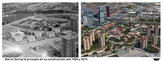 Barrio Gornal al principio de su construcción año 1964 y 2015
