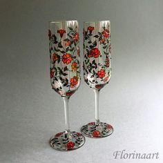 Black and red glasses Gothic wedding glasses Wedding flutes