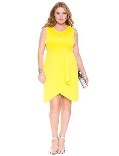 Mesh and Scuba Dress Lemon Lime