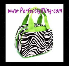 NEW ARRIVALS - INSULATED LIME GREEN ZEBRA PATTERN FASHION LUNCH TOTE BAG