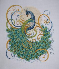 New Finished Completed Cross Stitch - Moonlight Peacock - 9385