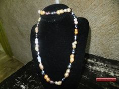 CherryCharm's Rare Multicolor Baroque Cultured Pearl Necklace and Bracelet Set - Unique handcrafted Bracelets, Necklaces, Pearls and Gift Ideas Cultured Pearl Necklace, Pearl Jewelry, Jewelry Sets, Fine Jewelry, Bracelet Set, Baroque, Beaded Necklace, Sparkle, Pearls