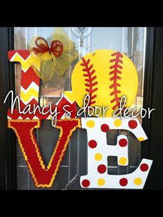 This is a 24 wood LOVE door hanger featuring a softball. All my items come with the back painted, sealed with a hanger, so you can take right out Softball Wreath, Softball Crafts, Softball Party, Softball Stuff, Softball Things, Softball Mom, Baseball Wreaths, Baseball Signs, Fastpitch Softball