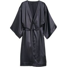 H&M Silk dressing gown (260 BRL) ❤ liked on Polyvore featuring intimates, robes, robe, dresses, h&m, dark grey, dressing gown, silk robe, silk bath robes and silk bathrobe