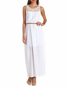Belted Crochet Inset Maxi Dress: Charlotte Russe