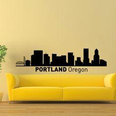 Portland Oregon Skyline City Silhouette Vinyl Wall Art Decal Sticker