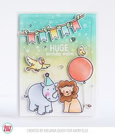 Melania Deasy for Avery Elle Supplies: Wild Birthday Clear Stamps Wild Birthday Ellements Wonky Stitches Ellements