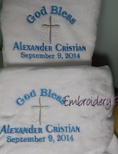 Christening towel Christening blanket by EmbroiderybySharon