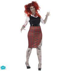 Disfraz de colegiala zombie talla grande para mujer