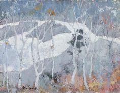 Anne Redpath (Scottish, 1895-1965), Birch trees near Blair Atholl. Oil on canvas, 71.5 x 92cm.