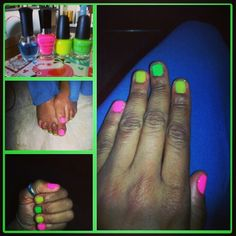 Neon nails   Bubblegum pink, Flicker & Mint Love my pick of colors this weekend!!!!
