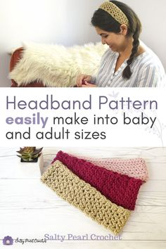 This simple crochet headband pattern is worked in short rows, so you can easily customize it for a baby headband or an adult headband! Did someone say mommy and me cuteness? Get the free pattern from Salty Pearl Crochet. Easy Crochet Headbands, Crochet Baby Hats, Free Crochet, Simple Crochet, Knitted Hats, Newborn Crochet Patterns, Crochet Blanket Patterns, Crochet Ideas, Crochet Projects