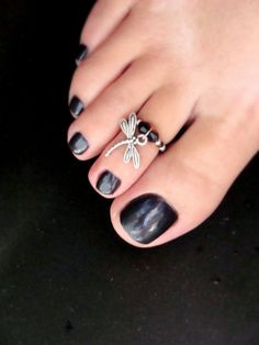 Toe Ring  Silver Dragonfly Charm  Stretch by FancyFeetBoutique