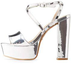 0185e257b1a Bamboo Metallic Platform Sandals. Leather SandalsCharlotte RussePlatformChunky  ...