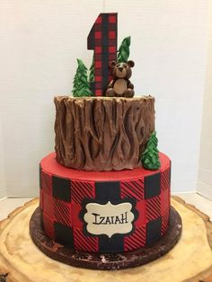 Pin by lara griffith on gavin's birthday ideas in Boys First Birthday Party Ideas, Wild One Birthday Party, Baby Boy 1st Birthday, First Birthday Cakes, Boy Birthday Parties, Lumberjack Cake, Lumberjack Birthday Party, Bbq Cake, Baby Shower Cakes