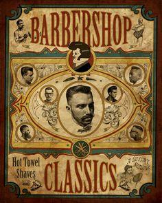 Schorem Haarsnijder En Barbier - Scumbag Barbers / awesome old prints Barber Poster, Barber Logo, Barber Shop Vintage, Barber Shop Decor, Vintage Labels, Vintage Posters, Vintage Bar, Tattoo Posters, Barber Shop Quartet