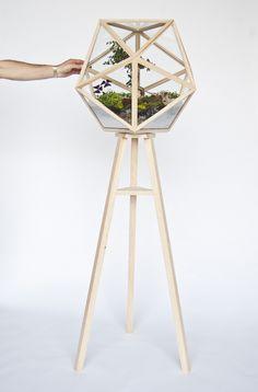 Beautiful Geometric terrarium. Wonder how it holds up against the moisture.