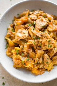 """Easy Chicken and Cabbage Stir-Fry Is Your Answer to """"What Should I Make for Dinner Tonight?"""" (Kitchn Easy Chicken and Cabbage Stir-Fry Is Your Answer to """"What Should I Make for Dinner Tonight? Cabbage Stir Fry, Chicken And Cabbage, Cooked Cabbage, Cabbage Meals, Cabbage Curry, Sauteed Cabbage, Stir Fry Recipes, Low Carb Recipes, Cooking Recipes"""