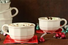 Cherry Cordial and Mint Truffle Kiss Hot Chocolate with Marshmallow Whipped Cream from www.chocolatemoosey.com