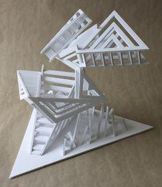 https://www.facebook.com/claralieu/ Clara Lieu, RISD Pre-College, Design Foundations course, Staircase Sculpture Assignment, foam board & hot glue, 2015