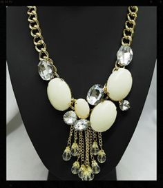Jewel Drop Stunning Chunky Statement NecklaceGold Chunky Chain Acrylic Jewels