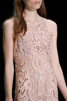 Laser cut leather dress with intricate pattern lace inserts; lasercut fashion details // Roberto Cavalli