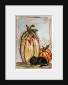 Print Set of my original folk art Halloween paintings  by DUDADAZE, $18.00