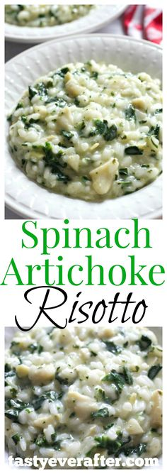 Spinach Artichoke Risotto This tastes just like the creamy, cheesy spinach artichoke dip and I could eat this every single day! So good and easy, about 30 minutes to make. Side Dish Recipes, Veggie Recipes, Whole Food Recipes, Vegetarian Recipes, Cooking Recipes, Healthy Recipes, Quick Recipes, Cheesy Spinach Artichoke Dip, Artichoke Recipes