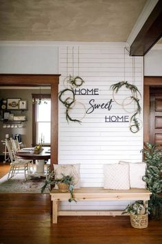 Home Sweet Home Wood Sign, Farmhouse Style Home Decor, Home Sign Wood Signs For Home, Home Signs, Sweet Home, Entry Way Design, Entryway Decor, Kitchen Entryway Ideas, Enterance Decor, Home Entrance Decor, Foyer