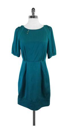 Ali Ro Teal Silk Blend Short Sleeve Dress