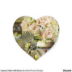 Lemon Cake with Roses Heart Sticker