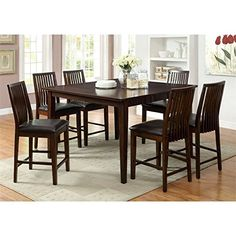 Furniture of America Denver 7 Piece Dining Set Counter Height Walnut 7 Piece