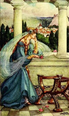 """Illustration by Anne Anderson (1878-1930) for """"Aucassin and Nicolete"""" (1911). Translation by Harold Child."""