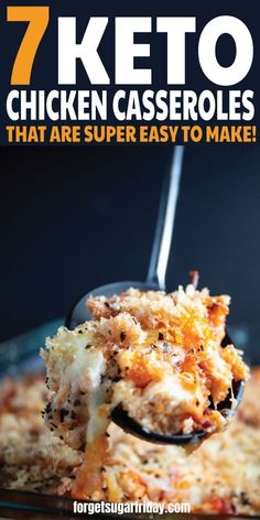 AMAZING keto chicken casseroles!! All easy to make! If you're looking for your next favorite keto chicken casserole recipe (or keto casserole recipe), you're sure to find it on this list. You'll find Crusted Buttery Chicken Casserole, Chicken Parmesan Casserole, Chicken Bacon Ranch Casserole, Chicken Green Bean Casserole, Mexican Chicken Casserole, Nacho Chicken Casserole, and Zesty Chicken Enchilada Casserole. These easy keto dinner recipes and easy keto lunch recipes are delicious! #ketorecipe