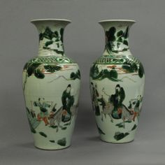 A Pair of Famille Verte Vases  C 1860 China