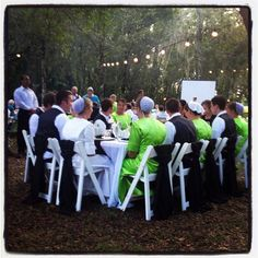 Mennonite wedding party very bright color dresses more