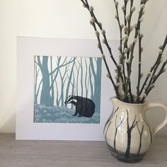 Badger picture woodland lino cut artwork blue and black Linocut Prints, Art Prints, Block Prints, Badger Pictures, Badger Illustration, Lino Art, Impression Textile, Linoprint, Simple Prints