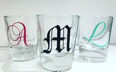 Personalized Shot Glass, Monogram Shot Glass, Any Occasion Shot Glass by EyeCatcherDecals on Etsy