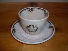 WHITE IRONSTONE TEA LEAF UNMARKED VARIANT CUP & SAUCER