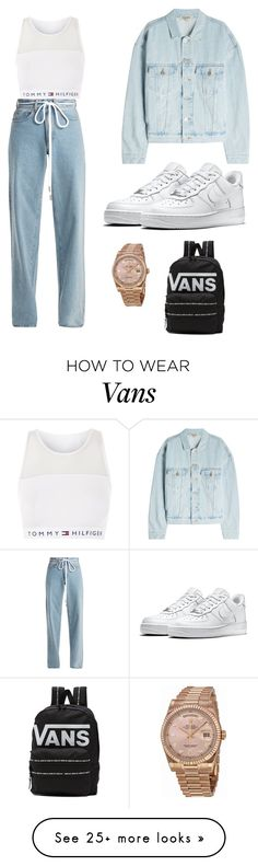"""chill vibes"" by alejandra06102002 on Polyvore featuring Tommy Hilfiger, Off-White, NIKE, Yeezy by Kanye West, Rolex and Vans"