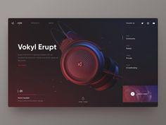 Vokyl Erupt brand by Hippie Mao. for Fireart Studio Website Design Inspiration, Website Design Layout, Web Layout, Layout Design, Sketch Inspiration, Ui Ux Design, Interface Design, Branding Design, Mise En Page Web