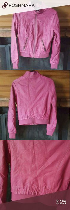 Magenta Faux Leather Jacket Magenta Faux Leather Jacket.  Cute criss cross stitching. Perfect for fall and winter. Great to dress up or down. Super chic and fun. Lined. No trades. Jackets & Coats