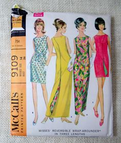 McCall's 9109 bust 36 Uncut Vintage mod housedress 1960s sewing pattern wraparound dress three armhole