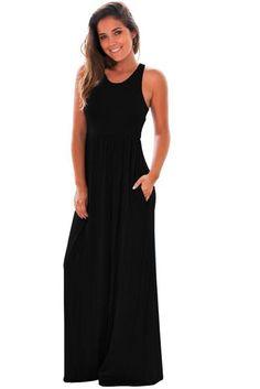 Black Racerback Pockets Maxi Dress 51f26534dd38