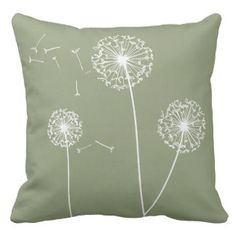 Green  Dandelions Decorative Pillow