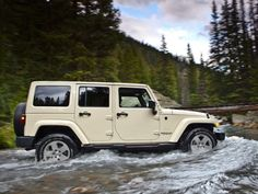 White Jeep Wrangler Unlimited Sahara with matching hard top.